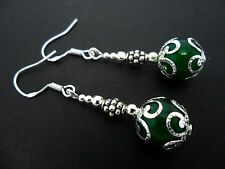 A PAIR OF DANGLY  GREEN JADE BEAD EARRINGS WITH 925 SOLID SILVER HOOKS. NEW..