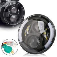 Schwarz Motorrad 7 Zoll LED Scheinwerfer Hi/Lo Haupt DRL für Harley Honda Jeep