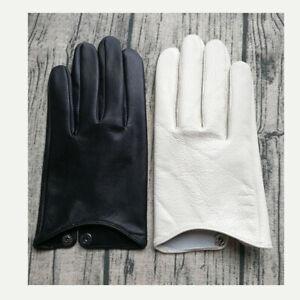 Touchscreen Real Leather wrist men simple Tech driving Lambskin Sheepskin gloves
