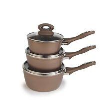 Salter Marble Collection 3pc Bronze Non-stick Sauce Pan Saucepan Set With Lids