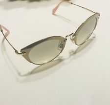 "Miu Miu ""Noir"" Cat Eye Sunglasses SMU53RS UFD3H2 52 Gold Light Brown Lenses $420"