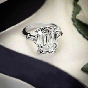 4.97 CT White Emerald Cut Diamond Engagement Wedding Ring Solid Sterling Silver
