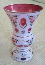 """Bohemian Czech Cased Glass 8"""" White to Cranberry Vase With Floral & Gold Accents"""