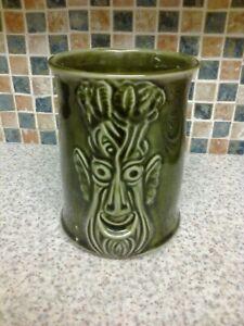 Large Bassware Pottery Green 3D Face Celery Pot 1980
