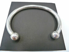 New Heavy Men's Solid Sterling Silver.925 Torque Bangle 68 grams- 12mm balls