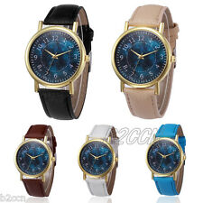 Men's Fashion Watch Digital Stars Print Leather Band Analog Quartz Wrist Watches
