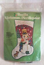 "Vintage Bucilla Needlepoint Kit Christmas Stocking NEW 16"" Snowman"
