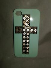 iphone 4s cell phone case - Mint - Studded Cross - Hard Plastic Cover