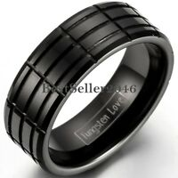 8mm Black Tungsten Carbide Ring Multi- Grooved Men's Engagement Wedding Band