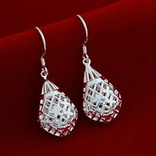 Earrings Drop Dangle Lattice Water Tear 925 Sterling Silver Women Fashion Gift