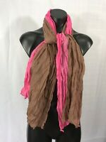 Fashion Scarf OMBRE Brown Pink Crinkle Two Tone Shawl Wrap Accessory Style Wear