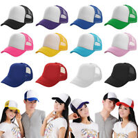 New Mens Women Plain Baseball Cap Solid Trucker Mesh Blank Curved Hat Adjustable