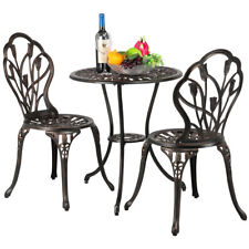 Gartenmöbel-Set Bistro Tisch & 2 Stühlen Gartenmöbel f. Balkon/Terrasse Bronze