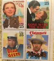 USPS Commemorative Stamps /Classic Movies-Block of Four Stamps