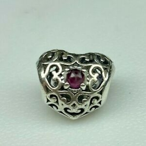 Pandora 791784SRU July Birthday Signature Charm 925 Sterling Silver *Pre-owned