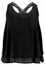 Women's Low Woven Back Baggy Crepe Studded Layered Chiffon Flare Top