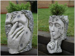 Ornate Head Planter PLANT POT Garden Ornament Lawn Sculpture 6535