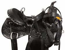 AMAZINGLY COMFY BLACK WESTERN PLEASURE TRAIL SHOW HORSE LEATHER SADDLE 16 17 18