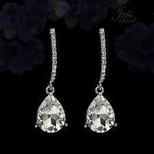 Rhodium Plated Clear Crystal Wedding Bridesmaids Drop Dangle Earrings 00005