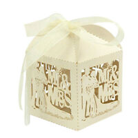 50pcs Mr & Mrs Bride Groom Hollow Candy Sweets Gift Boxes Wedding Party Bags