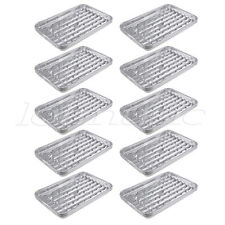10 Sets Large Disposable Aluminum Foil Barbecue Grill Plate for Picnic Barbecue