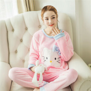 Women Warm Flannel Pajamas Set Cute Soft Autumn Winter Sleep Cloth Fall Gift New