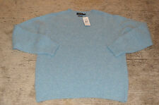 Ralph Lauren Blue Wool Cashmere Crew Jumper Sweater Men Extra Large XL New BNWOT