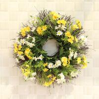 Daisy Flowers Twig Door Wreath Wall Hanging Spring Summer Greenery Floral Decor`