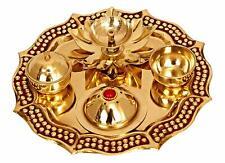 """New Brass Pooja Puja Aarti Thali Plate Worship Ritual, Golden, 8"""""""
