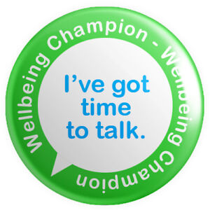Wellbeing Champion BUTTON PIN BADGE 25mm 1 INCH - Mental Health First Aider