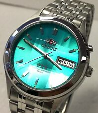 New Orient Green Dial Men's Faceted Automatic  Silver Watch  W  Box F/ SHIPPING