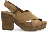 TOMS 10013590 Women's Honey Suede Ibiza Cross-Strap Casual Wedge Shoes Sandals