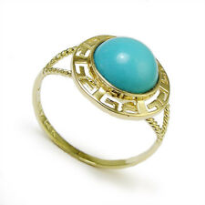 14k Solid Yellow Gold Greek Key Cabochon Turquoise Ring #R941