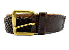 Vintage St Michael M&S Braided Mens Leather Belt Brown Size 30-32