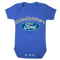 Ford Babygrow Baby Romper Sleep Suit Genuine Licensed Logo My Daddy Drives RS ST