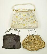 Vintage PURSE Handbag GERMAN SILVER SOLDERED MESH Beaded BAG Clutch 3 Lot