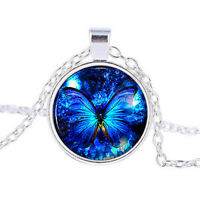 fashion round Butterfly blue Cabochon Silver plated Glass Chain Pendant Necklace