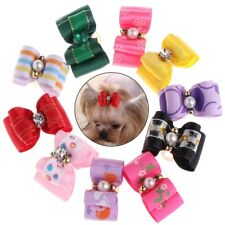 10 Pcs Pet Pearl Bow Knot Hair Clip Grooming Headdress Dog Cat Decor Accessories