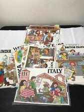 VTG LOT 14 INTERNATIONAL CHILDREN COUNTRIES OF THE WORLD SCHOOL POSTERS CARTOON