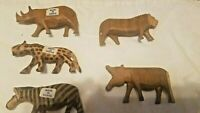 Hand Carved Wood Safari Animals Made in Kenya Lot of 5