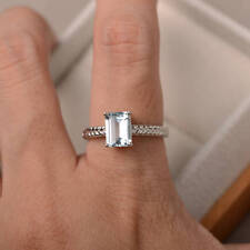 14K Hallmark White Gold 1.48 Ct Natural Diamond Emerald Cut Real Aquamarine Ring