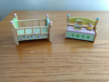 Calico Critters Sylvanian Families Nursery Pastel Crib & Toy Box Accessories