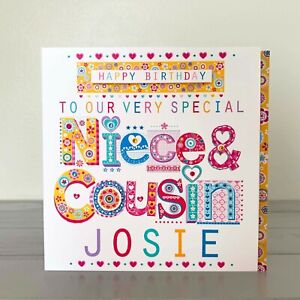 Niece & Cousin personalised birthday card. Special Niece Cousin unique card.