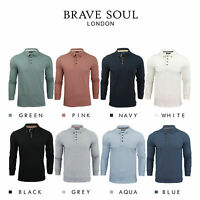 Brave Soul Lincoln Mens Polo T Shirt Long Sleeve Cotton Pique Casual Top