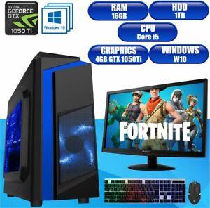 Fast Gaming PC Computer Bundle Intel Core i5 16GB 1TB Windows 10 4 GB GTX1050Ti