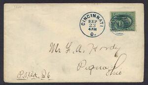 US 1870's CINCINNATI OHIO SUPERB FANCY CANCEL IN BLUE W/ADV PRINTED ON REVERSE