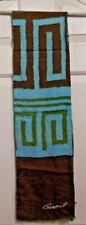 TERRIART Seafoam Green,Brown Line Maze Pattern SILK 56x8 Lg Scarf-Vintage BURMEL