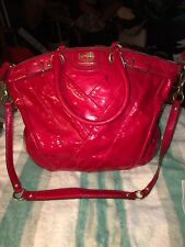 Coach Madison Diagonal Pleated Patent Leather Lindsey Bag F21299 $548 RED (G)