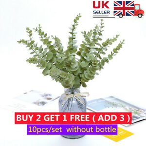 10x Large Bunch of Artificial Eucalyptus Stems-Greenery Plastic Leaves Fake Xmas