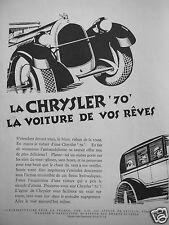 PUBLICITÉ 1927 LA CHRYSLER 70 LA VOITURE DE VOS RÊVES - ADVERTISING